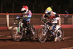 Lakeside Hammers v Swindon Robins<br /> Elite League<br /> Friday 5th April 2013<br /> Arena-Essex<br /> Heat Five<br /> Lewis Bridger (Red), Piotr Swiderski (Blue), Hans Andersen (White), Steve Worrall (Yellow)