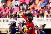 28th March 2018, Mini Estad, Barcelona, Spain; Womens Champions League football, quarter final, 2nd leg, Barcelona Women versus Lyon Women; Sandra Panos of FC Barcelona punches the ball clear from a corner