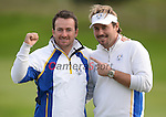 Europe's Graeme McDowell and Victor Dubuisson celebrate winning there foursome match <br /> <br /> Photographer Ian Cook/CameraSport<br /> <br /> International Golf - 2014 Ryder Cup - Day 2 - Saturday 27th September 2014 - PGA Centenary Course - Gleneagles Hotel - Auchterarder, Scotland<br /> <br /> &copy; CameraSport - 43 Linden Ave. Countesthorpe. Leicester. England. LE8 5PG - Tel: +44 (0) 116 277 4147 - admin@camerasport.com - www.camerasport.com