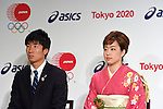 (L-R) Yoshihide Kiryu, Kasumi Ishikawa, <br /> APRIL 6, 2015 : <br /> Asics has Press conference in Tokyo. <br /> Asics announced that it has entered into a partnership agreement with the Tokyo Organising Committee of the Olympic and Paralympic Games. With this agreement, Asics becomes the gold partner. <br /> (Photo by AFLO SPORT)
