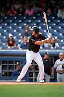 Nashville Sounds first baseman Matt Olson (21) at bat during a game against the New Orleans Baby Cakes on May 1, 2017 at First Tennessee Park in Nashville, Tennessee.  Nashville defeated New Orleans 6-4.  (Mike Janes/Four Seam Images)