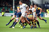 10th September 2017, Sixways Stadium, Worcester, England; Aviva Premiership Rugby, Worcester Warriors versus Wasps; Jonny Arr of Worcester Warriors tries to escape the tackle heading for the try line