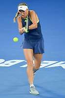 January 27, 2018: Number two seed Caroline Wozniacki of Denmark in action in the Women's Final against number one seed Simona Halep of Romania on day thirteen of the 2018 Australian Open Grand Slam tennis tournament in Melbourne, Australia. Photo Sydney Low