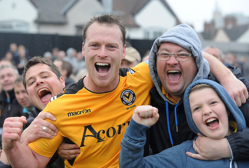 Newport County's Michael Flynn celebrates with fans.. - (Photo by Ian Cook/CameraSport) - ..Football - Blue Square Premier Play-Offs Semi-Final 2nd Leg - Newport County AFC v Grimsby Town - Sunday 28th April 2013 - Rodney Parade - Newport..© CameraSport - 43 Linden Ave. Countesthorpe. Leicester. England. LE8 5PG - Tel: +44 (0) 116 277 4147 - admin@camerasport.com - www.camerasport.com