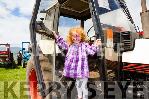 Samantha O'Sullivan in Daddy's 1985 CASE 1494 tractor at the Iveragh Vintage Club field day in Waterville.