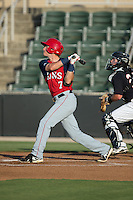 David Masters (7) of the Hagerstown Suns follows through on his swing against the Kannapolis Intimidators at CMC-Northeast Stadium on June 16, 2015 in Kannapolis, North Carolina.  The Suns defeated the Intimidators 8-4.  (Brian Westerholt/Four Seam Images)