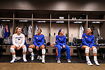 KANSAS CITY, MO - DECEMBER 16: Allie Monserez (22), Chanelle Hargreaves (23), Ann-Lorrayne Bzoch (24) and Lindsey Rogers (25) of the University of Florida sit in their locker room before the Division I Women's Volleyball Championship held at Sprint Center on December 16, 2017 in Kansas City, Missouri. (Photo by Jamie Schwaberow/NCAA Photos via Getty Images)