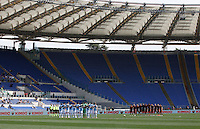 Calcio, Serie A: Lazio vs Roma. Roma, stadio Olimpico, 3 aprile 2016.<br /> Roma and Lazio players observe a minute of silence in memory of Italy's former coach Cesare Maldini, who passed away at the age of 84, prior to the start of their Italian Serie A football match at Rome's Olympic stadium, 3 April 2016.<br /> UPDATE IMAGES PRESS/Isabella Bonotto