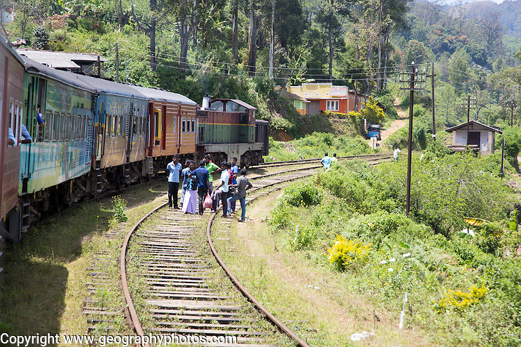 Trains approaching Pittipola, Sri Lanka, Asia the highest railways station in the country