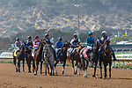 DEL MAR, CA  SEPTEMBER 1: The field in the post parade of  the Del Mar Debutante (Grade 1) on September 1, 2018, at Del Mar Thoroughbred Club in Del Mar, CA.(Photo by Casey Phillips/Eclipse Sportswire/Getty ImagesGetty Images