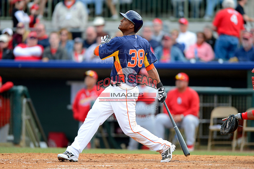Houston Astros outfielder Jimmy Paredes #38 during a Spring Training game against the St. Louis Cardinals at Osceola County Stadium on March 1, 2013 in Kissimmee, Florida.  The game ended in a tie at 8-8.  (Mike Janes/Four Seam Images)