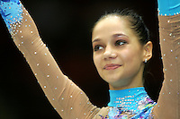 Irina Tchachina of Russia celebrates during event final medals ceremony at World Championships at Baku, Azerbaijan on October 4, 2005. (Photo by Tom Theobald)