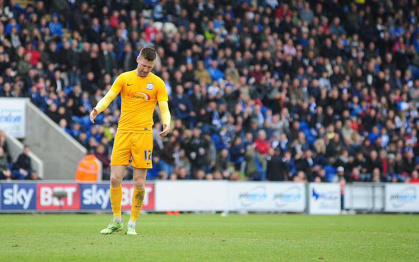 Preston North End's Paul Gallagher reacts after his shot went over the cross bar<br /> <br /> Photographer Chris Vaughan/CameraSport<br /> <br /> Football - The Football League Sky Bet League One - Colchester United v Preston North End - Sunday 3rd May 2015 - Weston Homes Community Stadium - Colchester<br /> <br /> &copy; CameraSport - 43 Linden Ave. Countesthorpe. Leicester. England. LE8 5PG - Tel: +44 (0) 116 277 4147 - admin@camerasport.com - www.camerasport.com
