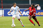 20 October 2014: Ana Martinez (GUA) (9) and Liana Hinds (TRI) (15). The Trinidad & Tobago Women's National Team played the Guatemala Women's National Team at RFK Memorial Stadium in Washington, DC in a 2014 CONCACAF Women's Championship Group A game, which serves as a qualifying tournament for the 2015 FIFA Women's World Cup in Canada. Trinidad and Tobago won the game 2-1 to secure advancement to the semifinals.