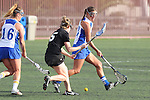 Santa Barbara, CA 02/18/12 - Elise Becker (Washington #5), Maegan Cruse (UCSB #16) and Megan Fisher (UCSB #23) in action during the UCSB-Washington matchup at the 2012 Santa Barbara Shootout.  UCSB defeated Washington