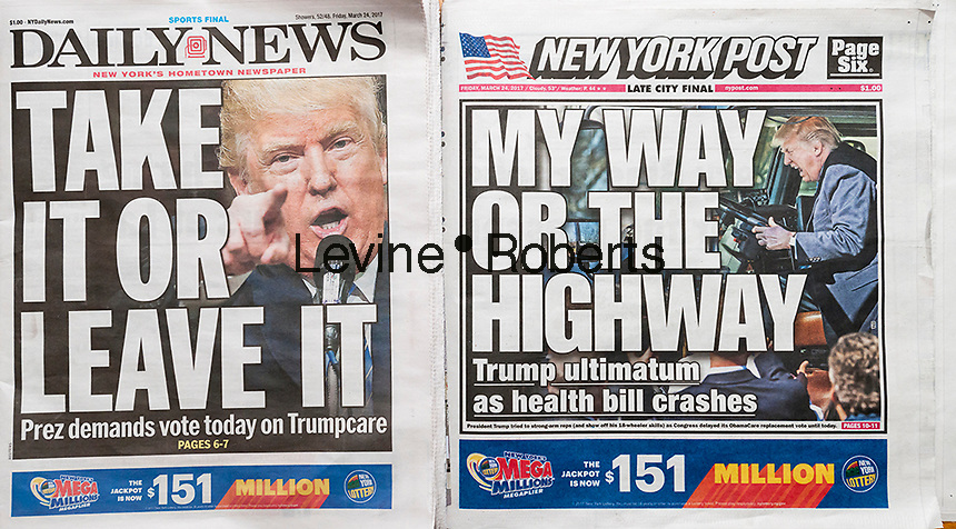 Headlines of New York newspapers on Friday, March 24, 2017 report on President Donald Trump's ultimatum to Congress to pass the GOP healthcare bill, Trumpcare. (© Richard B. Levine)