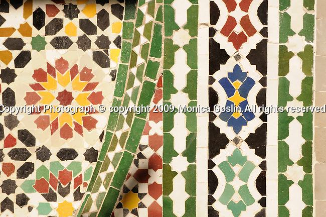 Decorative tiles in Marrakesh, Morocco.