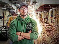 Student James Wheeler at Patrick Henry Community College and photographed for the Virginia Rural Horseshoe Initiative Project in Martinsville, VA. Photo/Andrew Shurtleff