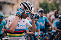 World Champion Alejandro Valverde (ESP/Movistar) at the start<br /> <br /> 99th Milano - Torino 2018 (ITA)<br /> from Magenta to Superga: 200km