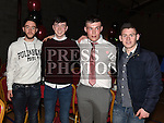 Aaron Roche, Paul Duff, Darren McMullen and Thomas Gregory pictured at St Kevin's GAA Club annual awards night in Phillipstown community centre. Photo:Colin Bell/pressphotos.ie
