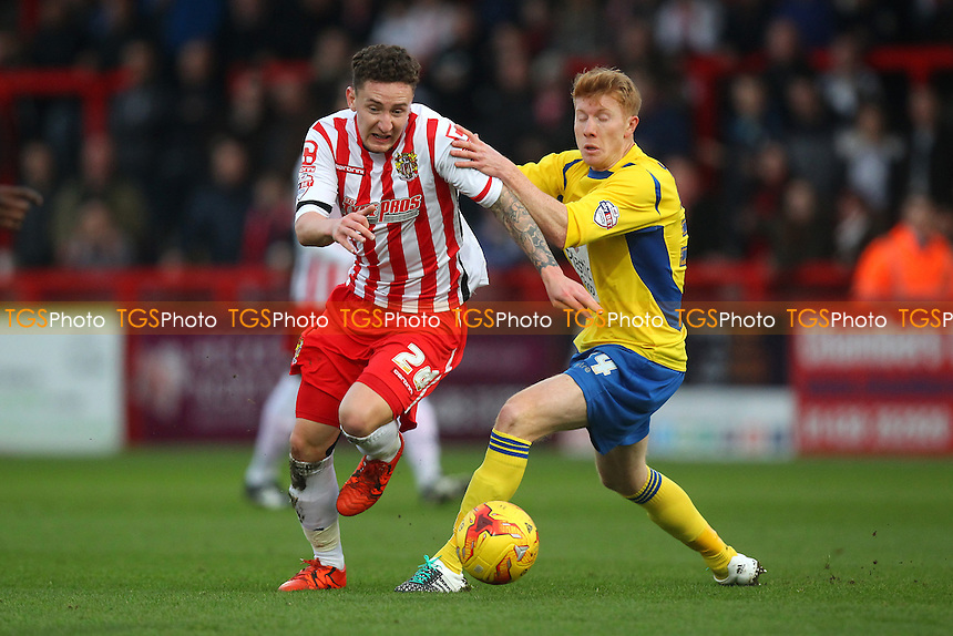 Callum McFadzean of Stevenage and Brad Halliday of Accrington Stanley during Stevenage vs Accrington Stanley, Sky Bet League 2 Football at the Lamex Stadium, Stevenage, England on 19/12/2015