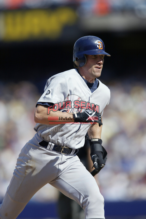 Kory DeHaan of the San Diego Padres runs the bases during a 2002 MLB season game against the Los Angeles Dodgers at Dodger Stadium, in Los Angeles, California. (Larry Goren/Four Seam Images)