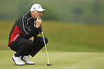 Phillip Price lines up his putt on the 3rd hole during the first round of the ISPS Handa Wales Open 2012....31.05.12.©Steve Pope