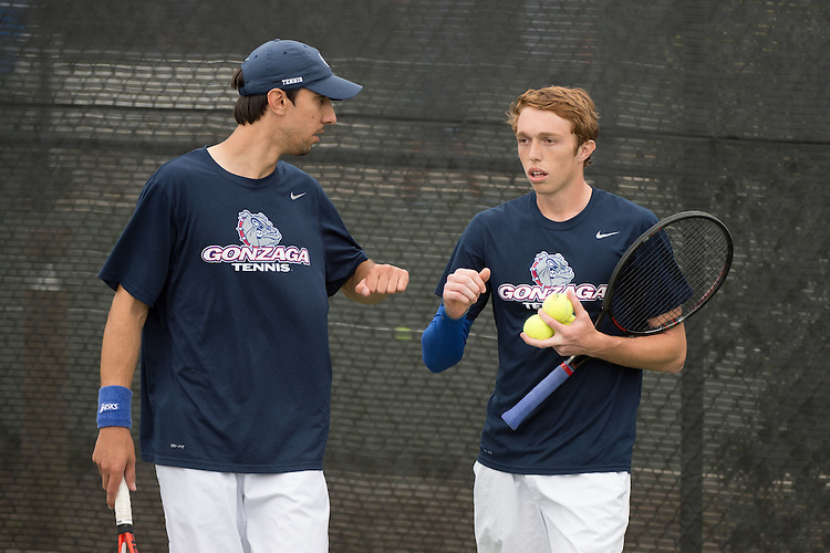 April 22, 2015; San Diego, CA, USA; Gonzaga Bulldogs tennis players Vladimir Mijatovic (left) and Hayden Smith (right) during the WCC Tennis Championships at Barnes Tennis Center.