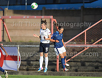 Hannah Blundell of England battles with Marine Dafeur of France during the UEFA Womens U19 Championships at Stebonheath Park, Llanelli  Monday 19th August 2013. All images are the copyright of Jeff Thomas Photography-www.jaypics.photoshelter.com-07837 386244-Any use of images must be authorised by the copyright owner.