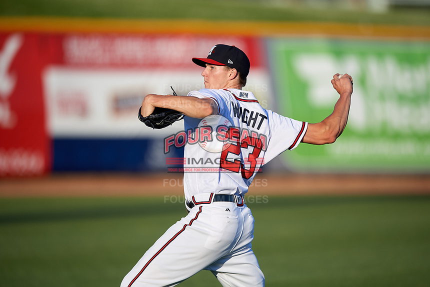 Mississippi Braves starting pitcher Kyle Wright (23) warms up before a game against the Mobile BayBears on May 7, 2018 at Trustmark park in Pearl, Mississippi.  Mobile defeated Mississippi 5-0.  (Mike Janes/Four Seam Images)