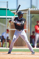 GCL Marlins center fielder Thomas Jones (33) at bat during the second game of a doubleheader against the GCL Cardinals on August 13, 2016 at Roger Dean Complex in Jupiter, Florida.  GCL Cardinals defeated GCL Marlins 2-0.  (Mike Janes/Four Seam Images)