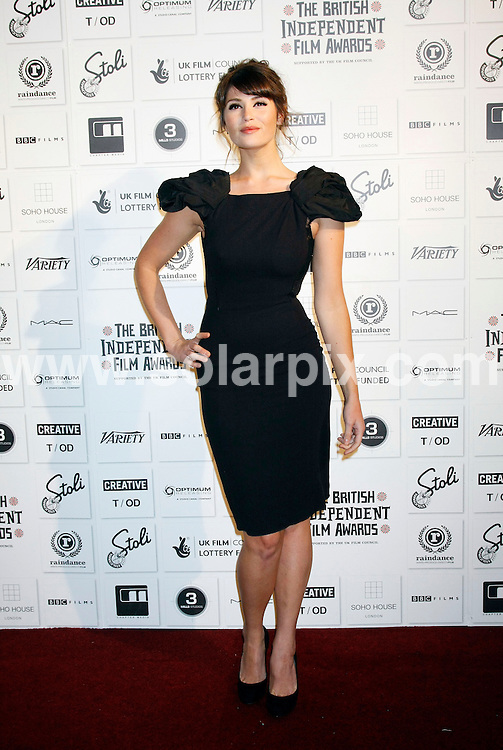 **ALL ROUND PICTURES FROM SOLARPIX.COM**.**WORLDWIDE SYNDICATION RIGHTS**.The Independent Film Awards at The Brewery in Chiswell Street, London.This pic:  Gemma Arterton.JOB REF:   10350   LNJ     DATE:  06.12.09.**MUST CREDIT SOLARPIX.COM OR DOUBLE FEE WILL BE CHARGED**.**MUST NOTIFY SOLARPIX OF ONLINE USAGE**.**CALL US ON: +34 952 811 768 or LOW RATE FROM UK 0844 617 7637**