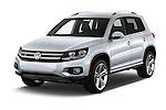 2016 Volkswagen Tiguan 2.0T-R-Line 5 Door SUV Angular Front stock photos of front three quarter view