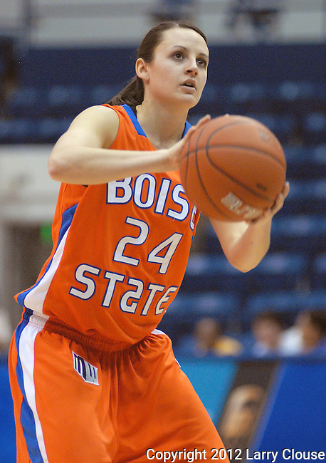 January 14, 2012:  Boise State guard, Kati Isham (24), at the foul line during a Mountain West Conference match-up between the Boise State Broncos and the Air Force Academy Falcons at Clune Arena, U.S. Air Force Academy, Colorado Springs, CO.  Boise State defeats Air Force 81-75.