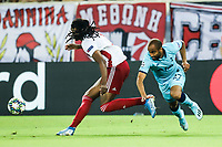 Lucas Moura of Tottenham Hotspur in action with Ruben Semedo of Olympiacos Fc, during the UEFA Champions League match between Olympiacos Fc and Tottenham Hotspur, in Karaiskaki Stadium in Piraeus, Greece. Wednesday 18 September 2019