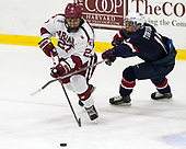 Viktor Dombrovskiy (Harvard - 27), Jacob Tortora (NTDP - 11) - The Harvard University Crimson defeated the US National Team Development Program's Under-18 team 5-2 on Saturday, October 8, 2016, at the Bright-Landry Hockey Center in Boston, Massachusetts.