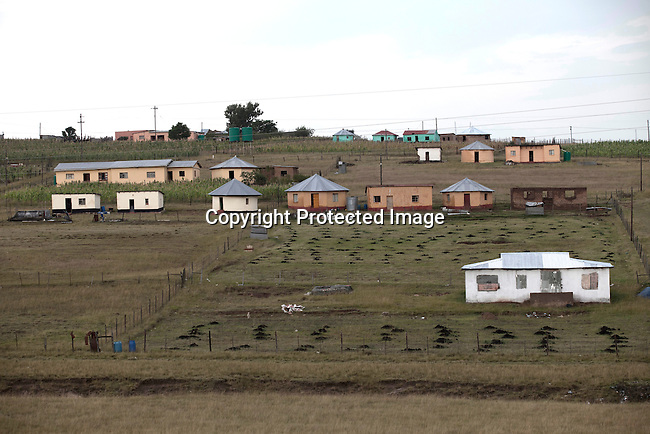 QUNU SOUTH AFRICA - MARCH 28: An overview of Qunu village on March 28, 2012 in Qunu, South Africa. Nelson Mandela was born in a rural village called Mvezo in 1918 and he moved to nearby Qunu as a young boy. Mvezo is about 32 kilometers away. (Photo by Per-Anders Pettersson)
