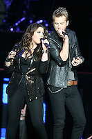 03/27/12 Los Angeles, CA: Hillary Scott and Charles Kelley of Lady Antebellum perform at Staples Center during their Own the Night 2012 World Tour