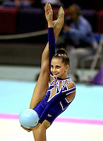 01 OCTOBER 1999 - OSAKA, JAPAN: Olga Belova (RUS) performs in team and all-around finals at 1999 Rhythmic Gymnastics World Championships.
