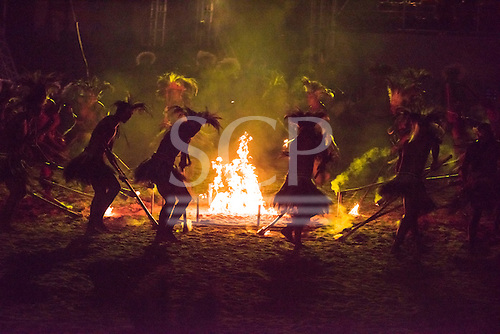 Participants from the Terena ethnic group dance around the sacred fire during the opening ceremony at the first ever International Indigenous Games, in the city of Palmas, Tocantins State, Brazil. Photo © Sue Cunningham, pictures@scphotographic.com 23rd October 2015