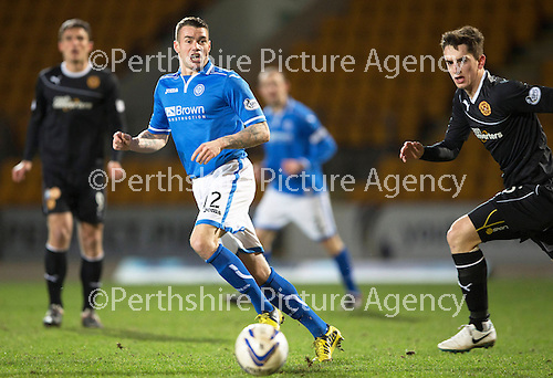 St Johnstone v Motherwell....25.02.14    SPFL<br /> James Dunne<br /> Picture by Graeme Hart.<br /> Copyright Perthshire Picture Agency<br /> Tel: 01738 623350  Mobile: 07990 594431