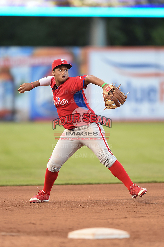 Wesley Rodriguez (44) of George Washington High School in Bronx, New York playing for the Philadelphia Phillies scout team during the East Coast Pro Showcase on July 31, 2014 at NBT Bank Stadium in Syracuse, New York.  (Mike Janes/Four Seam Images)