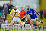Paul Galvin Lixnaw in action against Daniel Collins Kilmoyley in the County Senior Hurling final at Austin Stack Park on Saturday.