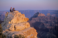 Family watching sunset from Bright Angel Point on North Rim of Grand Canyon National Park, Arizona, AGPix_0150.