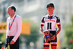 2nd place Coryn Rivera (USA) Team Sunweb on the podium at the end of the Madrid Challenge by La Vuelta 2017, ridden over 87km 15 laps on a 5.8km route around the iconic Plaza Cibeles, Madrid, Spain. 10th September 2017.<br /> Picture: Unipublic/&copy;photogomezsport | Cyclefile<br /> <br /> <br /> All photos usage must carry mandatory copyright credit (&copy; Cyclefile | Unipublic/&copy;photogomezsport)