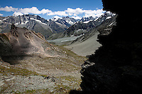 The view from the Col de Riedmatten, looking down into the Montagne d'Arolla.