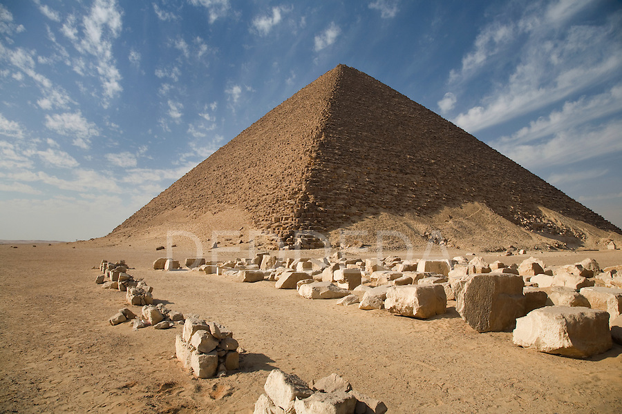 The Red Pyramid, the world's oldest true pyramid, also known as the North Pyramid, located 10km south of Saqqara in Dahshur, Egypt.