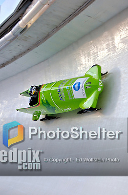 14 December 2006: Sandra Kiriasis, of Germany, pilots her sled through a turn during a training run in preparation for the World Cup Bobsleigh Competition at the Olympic Sports Complex on Mount Van Hoevenburg  in Lake Placid, New York, USA.&amp;#xA;&amp;#xA;Mandatory Photo credit: Ed Wolfstein Photo<br />