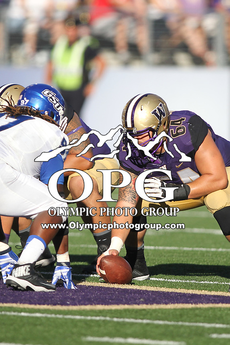 Sept 20, 2014:  Washington's Colin Tanigawa against Georgia State.  Washington defeated Georgia State 45-14 at Husky Stadium in Seattle, WA.
