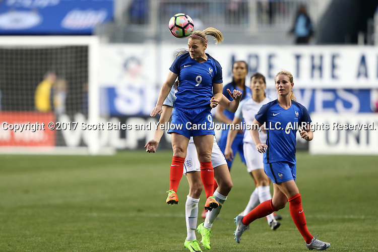 CHESTER, PA - MARCH 01: Eugenie Le Sommer (FRA) (9). The England Women's National Team played the France Women's National Team as part of the She Believes Cup on March, 1, 2017, at Talen Engery Stadium in Chester, PA. The France won the game 2-1.